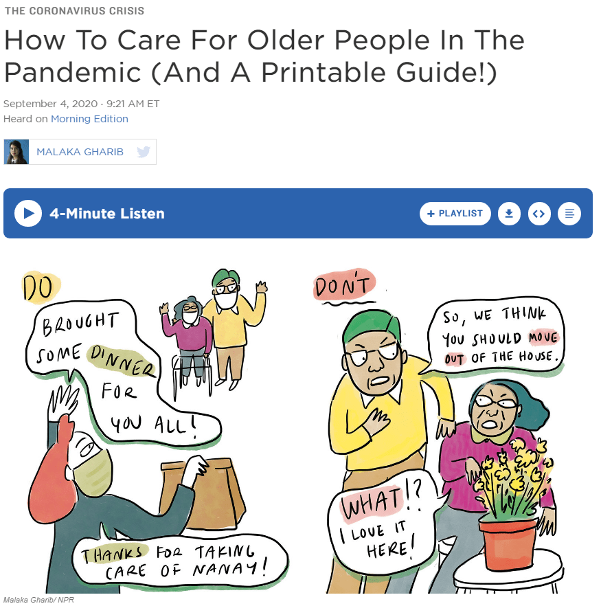 "Screenshot of NPR's website with the article title at the top, followed by a cartoon with ""dos"" and ""don'ts"" for helping seniors."